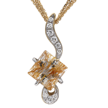 Ruilated Topaz and Diamond Pendant