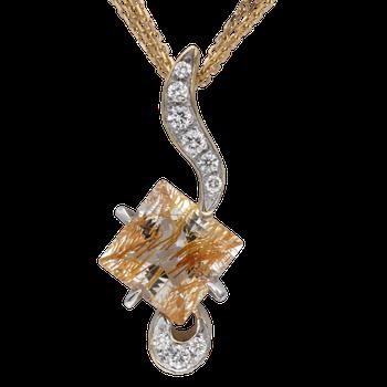 Ruilated Topaz and Diamond Pendant