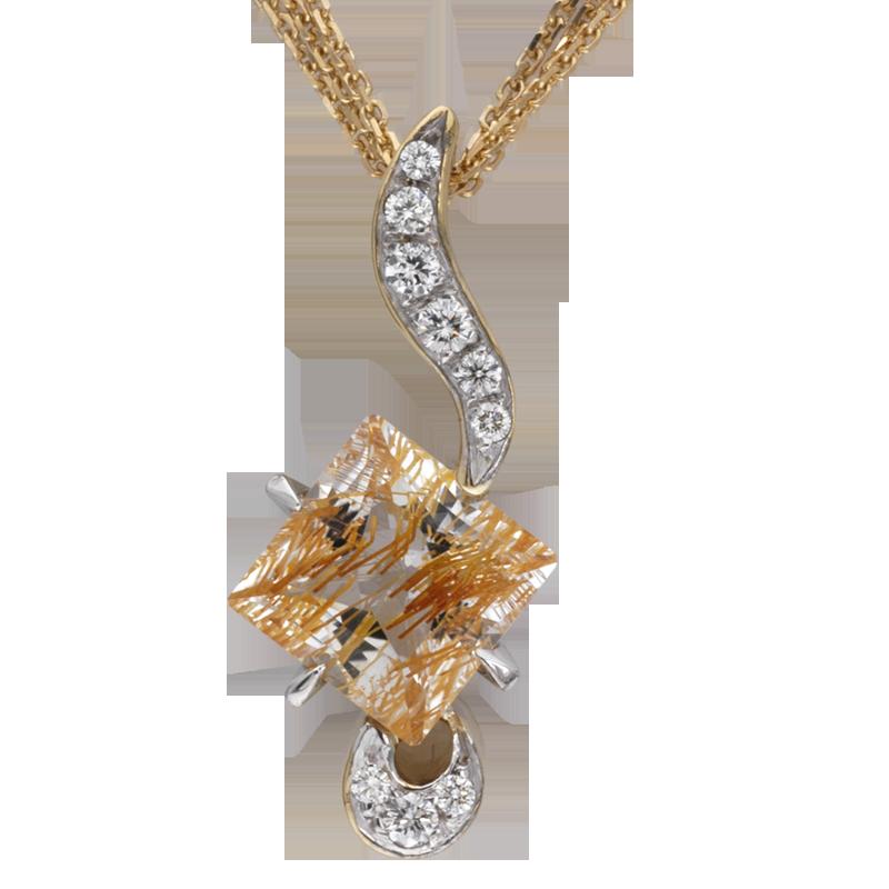 Faini Ruilated Topaz and Diamond Pendant