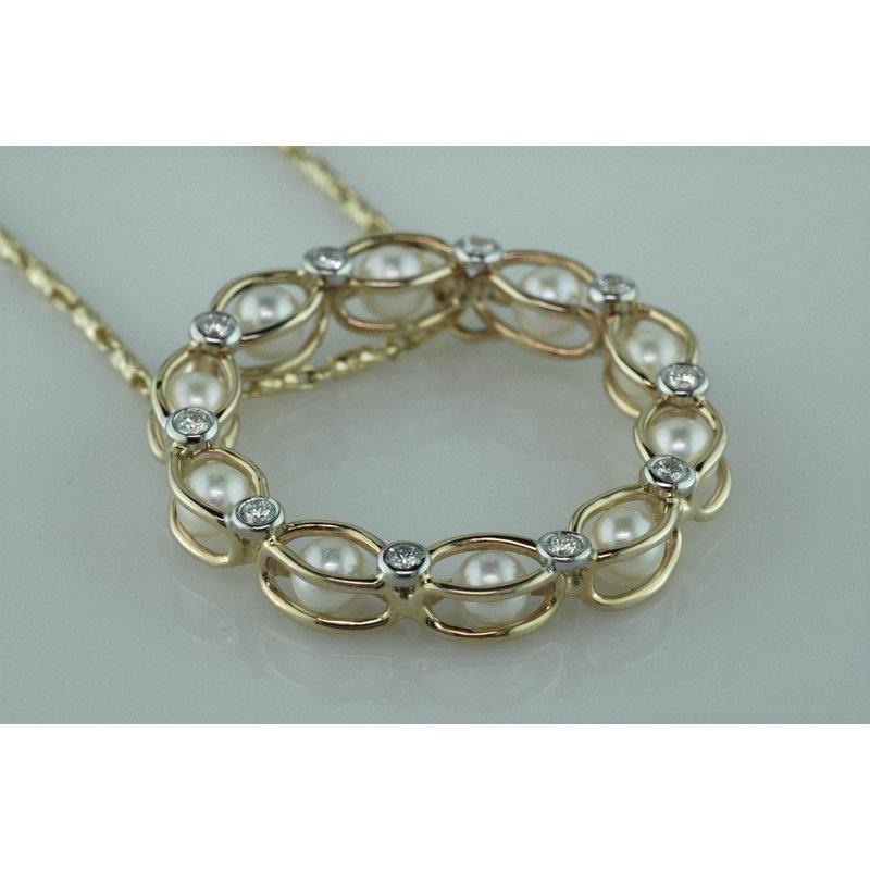 Faini Custom Pearl and Diamond Circle Pendant