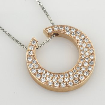 Crescent Shaped Pave Diamond Pendant