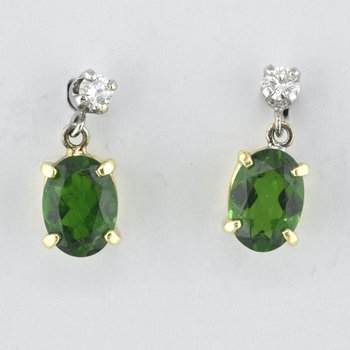 Green Touramaline and Diamond Earrings