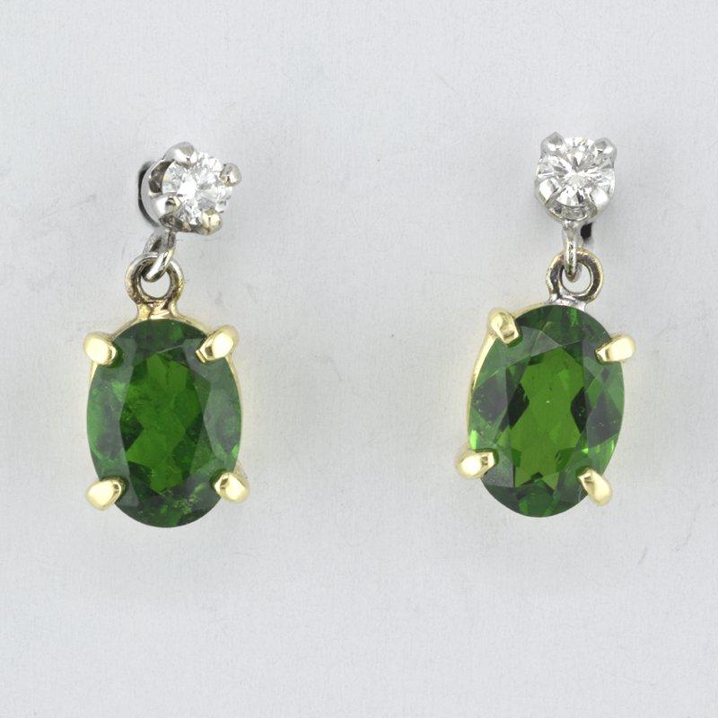 Faini Green Touramaline and Diamond Earrings