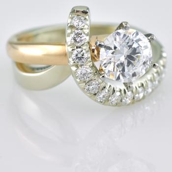 Custom 14k White and Rose Gold Ring
