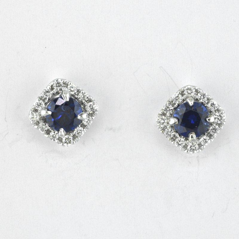 Faini Sapphire and Diamond Halo Earrings