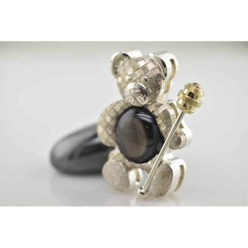 Faini Custom Black Star Sapphire Teddy Bear Pendant