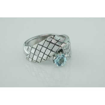 Blue Topaz Checkerboard Ring
