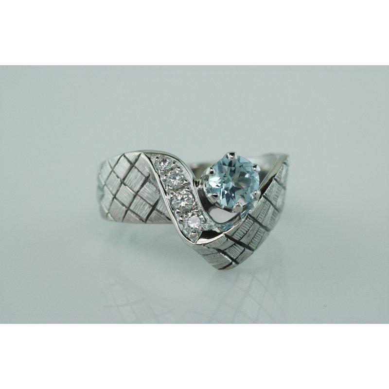 Faini Blue Topaz Checkerboard Ring