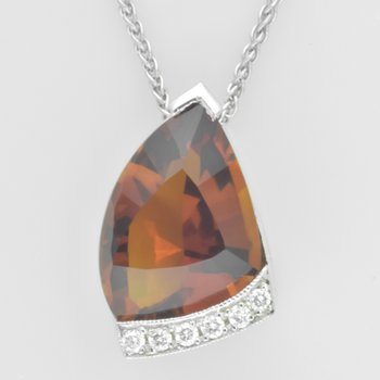 Fancy Citrine and Diamond Pendant