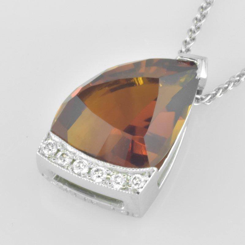 Faini Fancy Citrine and Diamond Pendant