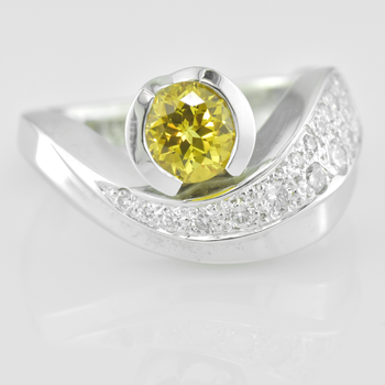 Faini Custom Yellow Chatham Sapphire Ladies Ring