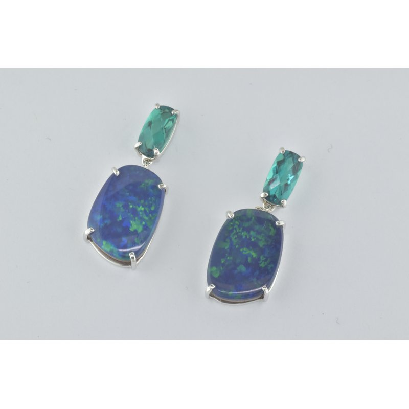 Faini Custom Opal and Emerald Earrings