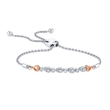sterling silver diamond heart bolo bracelet