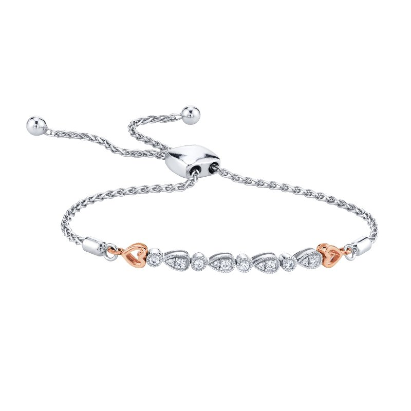 Greenberg's sterling silver diamond heart bolo bracelet