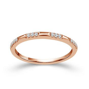 10k pink gold .07ctw diamond stackable band