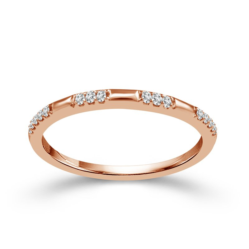 Greenberg's 10k pink gold .07ctw diamond stackable band
