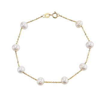14k yellow gold bracelet with white freshwater pearls