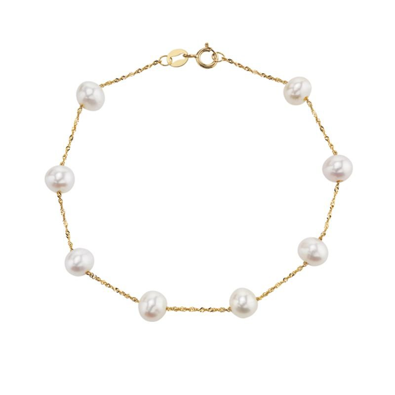 Greenberg's 14k yellow gold bracelet with white freshwater pearls