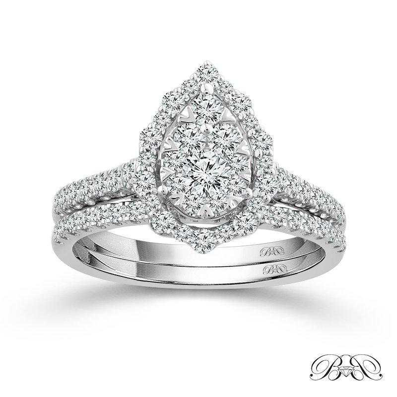 Beautiful Bride 14K WG 1.00CTW Quad Pear-Shaped Diamond Center Bridal Ring