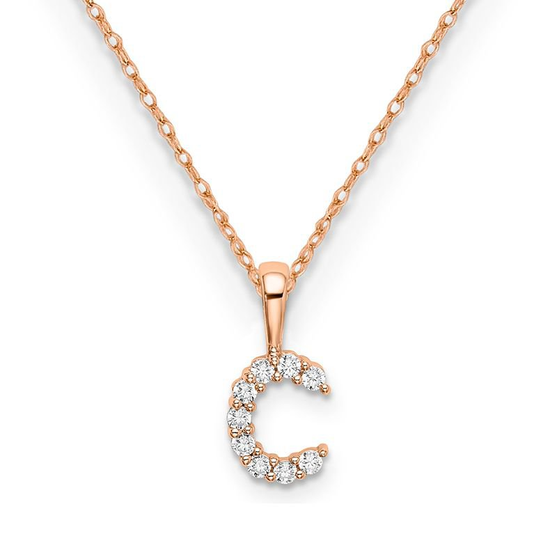 """Greenberg's 14k rose gold initial """"c"""" pendant with chain"""