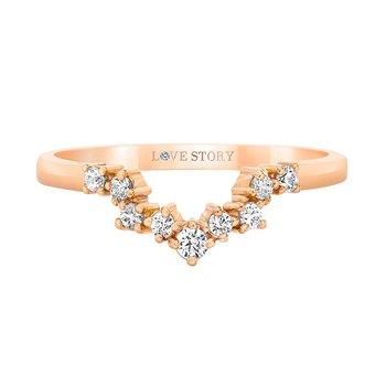 14k rose gold .16ctw contour wedding band