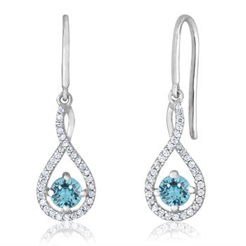 sterling silver and diamond aquamarine drop earrings