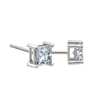 .12ct princess cut stud diamond earrings