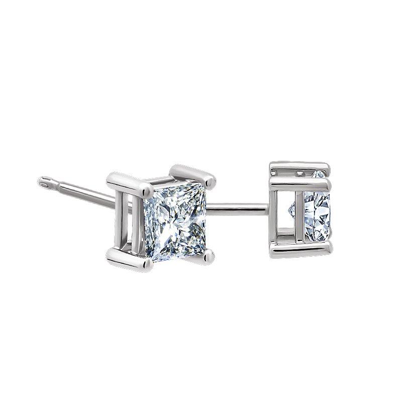 Greenberg's 10k white gold .12ct princess cut stud diamond earrings