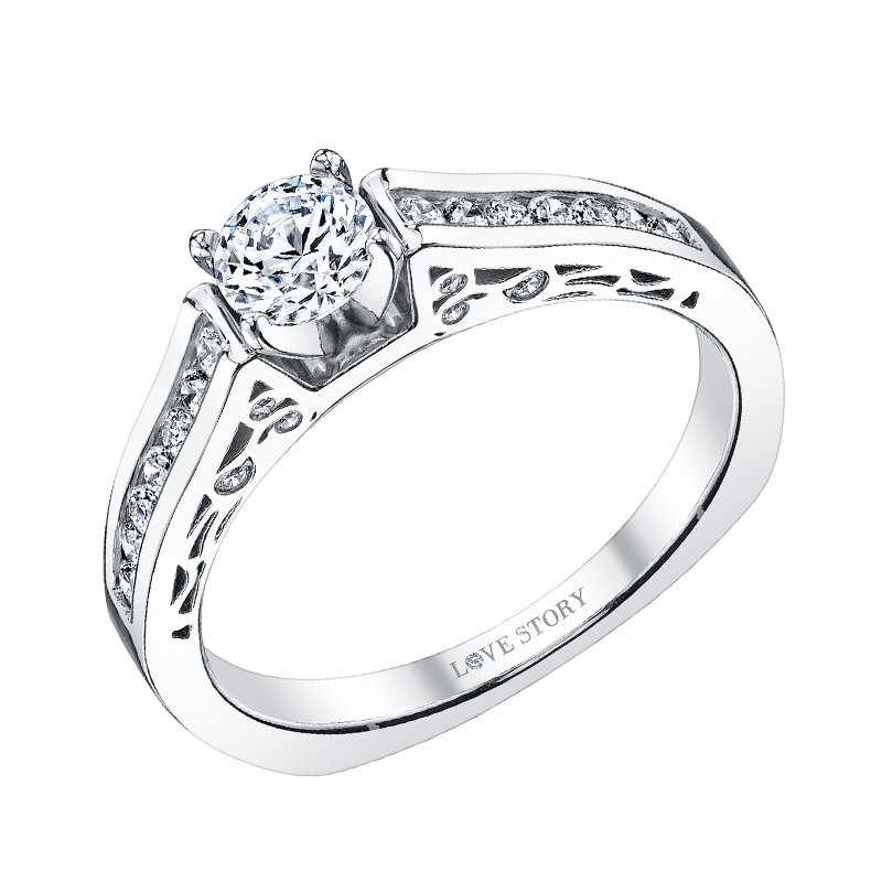 Love Story 14k white gold 1/4ctw semi-mount engagement ring