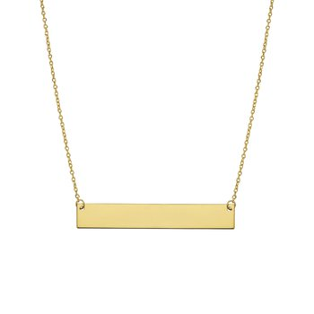 14k yellow gold flat bar necklace