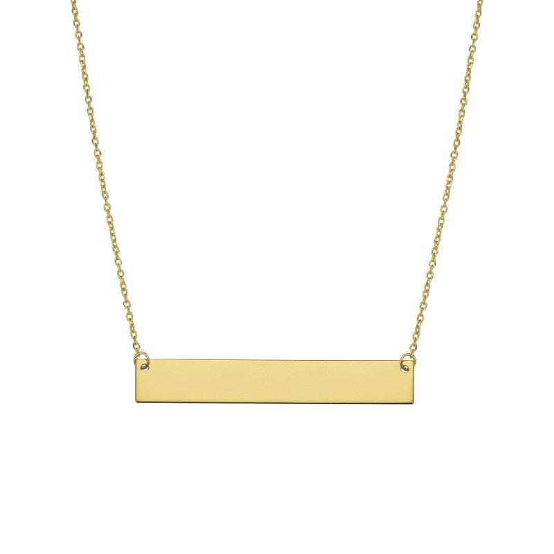 Greenberg's 14k yellow gold flat bar necklace