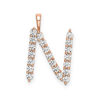 """14k rose gold initial """"N"""" pendant"""