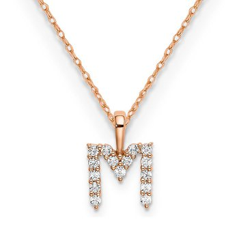 "14k rose gold initial ""M"" pendant with chain"