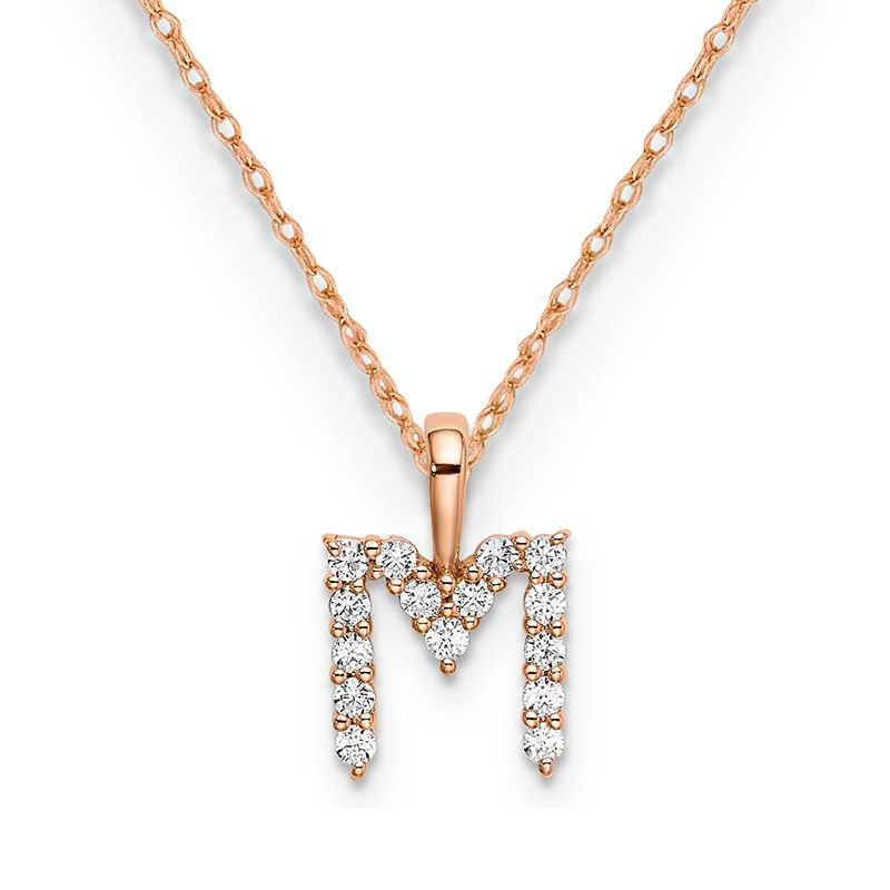 """Greenberg's 14k rose gold initial """"M"""" pendant with chain"""
