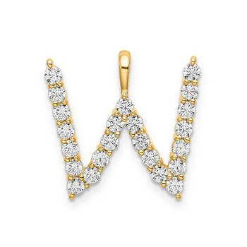 "14k yellow gold initial ""W"" pendant"