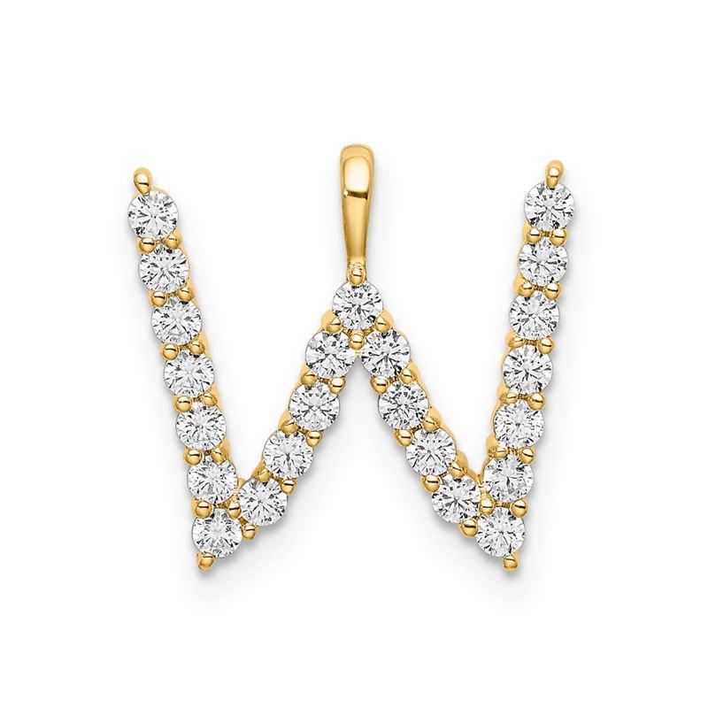"Greenberg's 14k yellow gold initial ""W"" pendant"