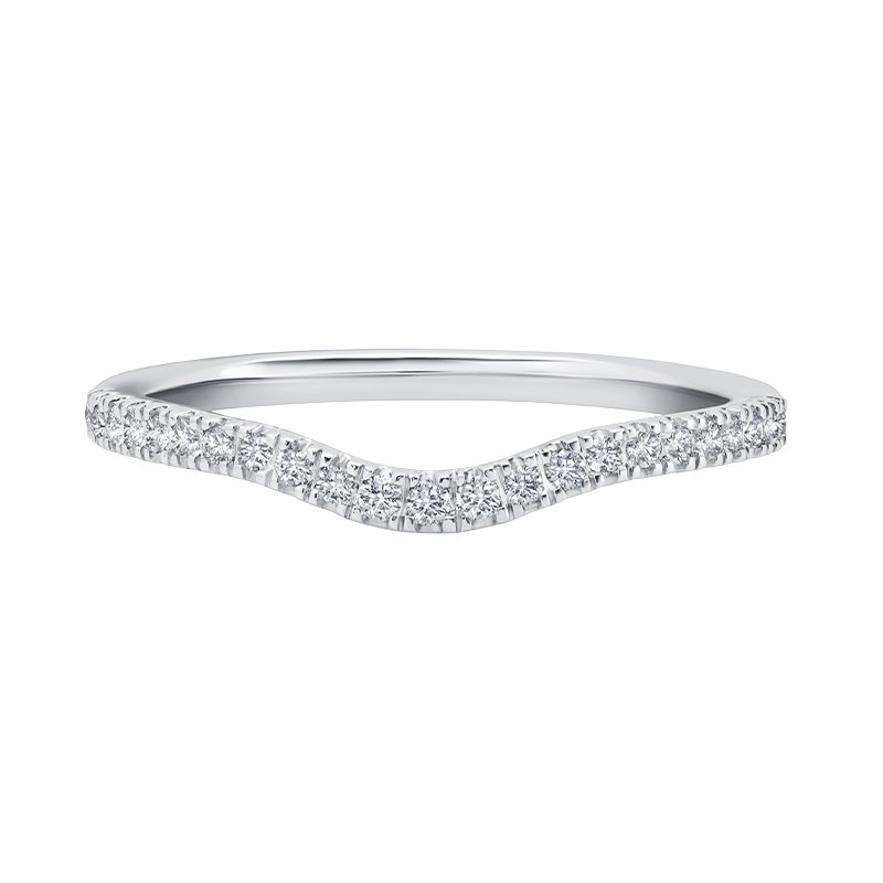 Greenberg's 14k white gold curved diamond wedding band