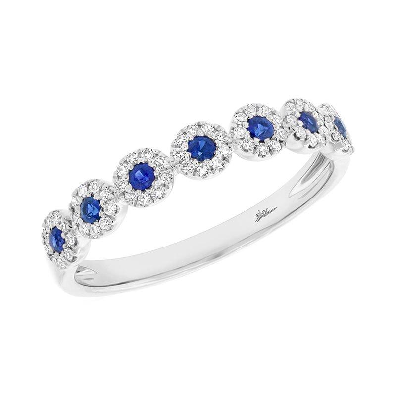 Shy Creation 14k W/G .16CTW Blue Sapphire Lady's Ring