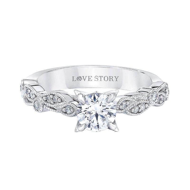 Love Story 14k white gold 1/5ctw semi-mount diamond engagement ring
