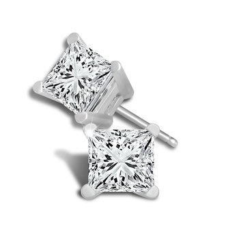 1ct princess cut stud diamond earrings