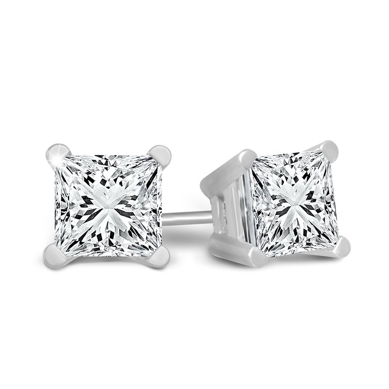 Greenberg's 14k white gold 1ct princess cut stud diamond earrings