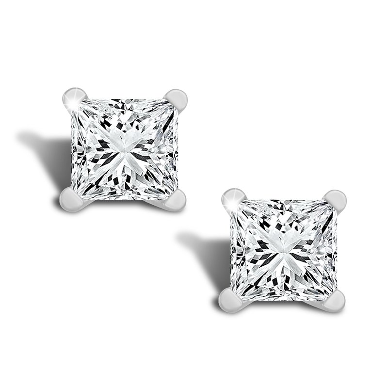 Greenberg's 1ct princess cut stud diamond earrings