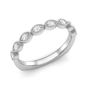 14k white gold 1/6ctw diamond wedding band
