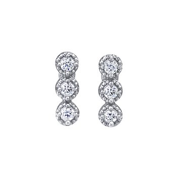 14K White Gold 0.15ctw Three Stone Halo Style Earrings with Post