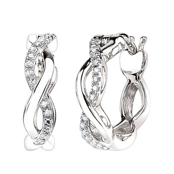 10k white gold infinity diamond hoop earrings