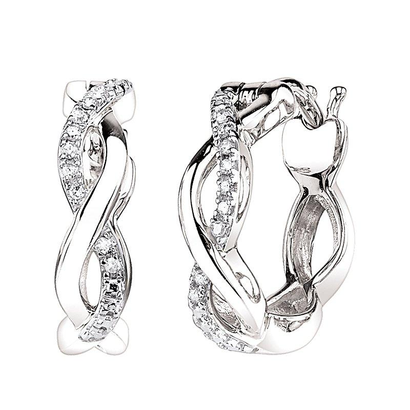 Greenberg's 10k white gold infinity diamond hoop earrings