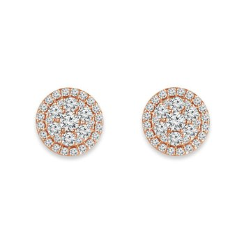 14k pink gold 1ctw round diamond fashion earrings