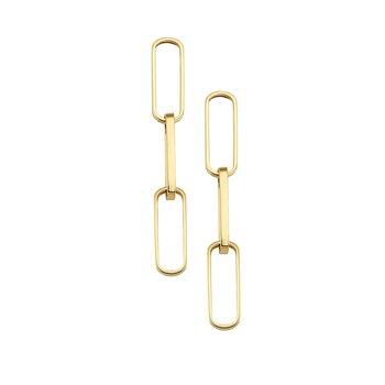 14K YG 5.4mm Paper Clip Chain Drop Earrings
