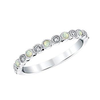 14k white gold opal birthstone ring