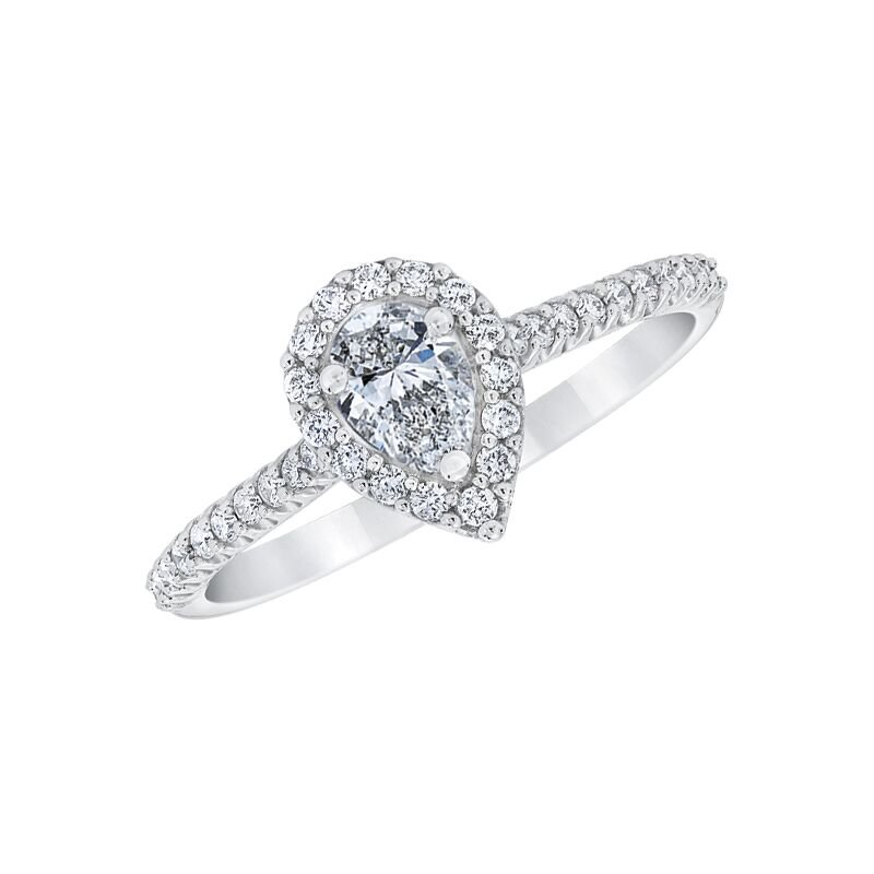 Love Story 14k white gold 1/2ctw 1/4ct pear-shaped diamond engagement ring